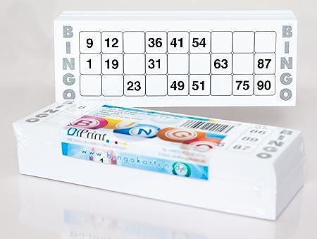 200 große Bingokarten für Senioren 15 aus 90 Zahlen (weiß)