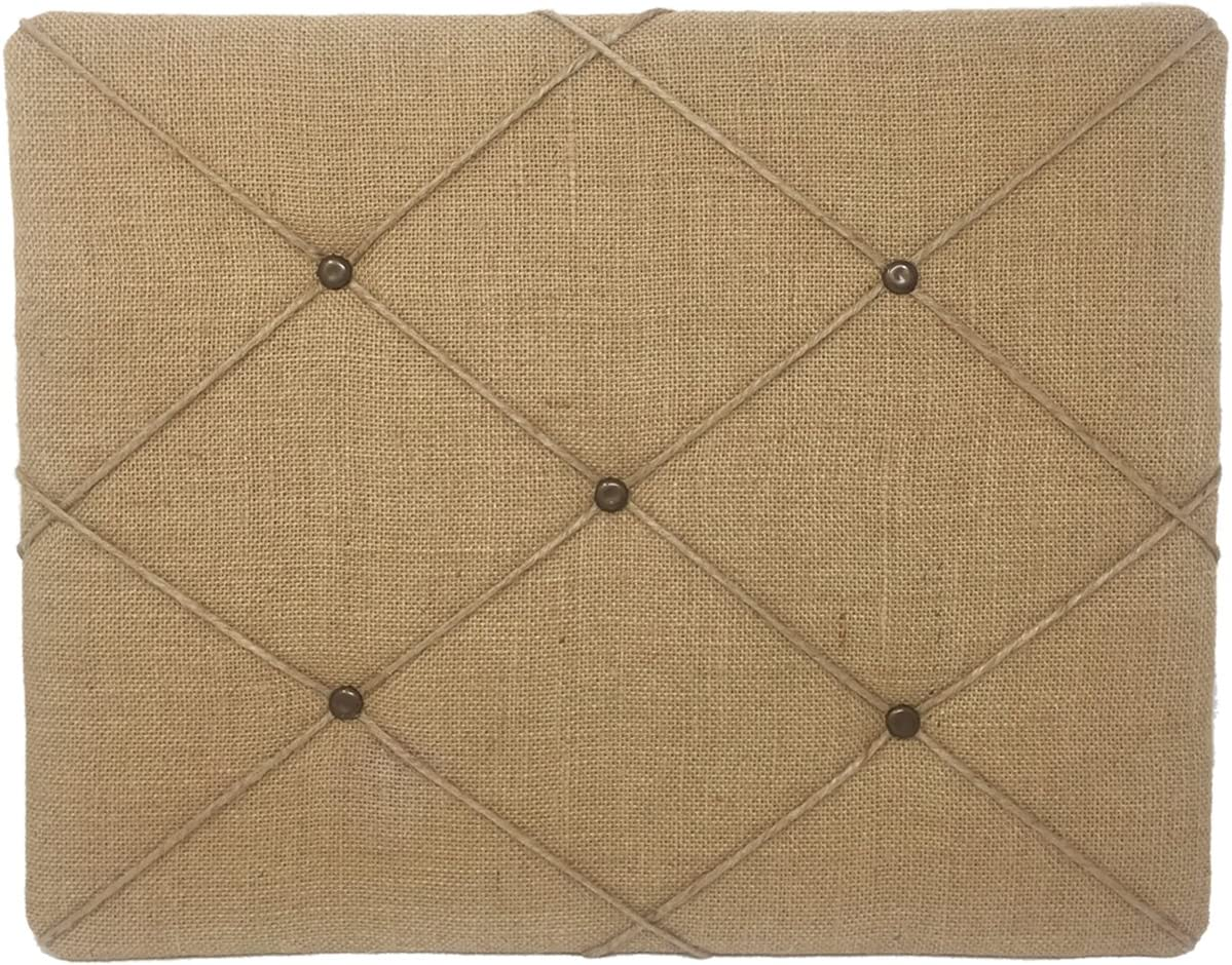 "19.75"" x 15.75"" Natural Tan Burlap Covered with Criss-Cross Twine Bulletin Picture & Memo Board"