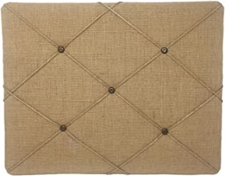 ReLIVE Burlap Covered Bulletin Picture Board with Crisscross Twine, 19.75 x 15.75, Natural Tan