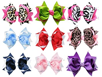 HipGirl 9pc Large Loopy Spike Hair Bow Ponytail Holder 51bdd80fafc