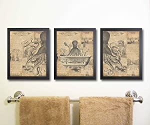 Silly Goose Gifts Octopus Funny Vintage Bath Image Nautical Wall Art Prints (Set of 3) Bathroom (Sepia)