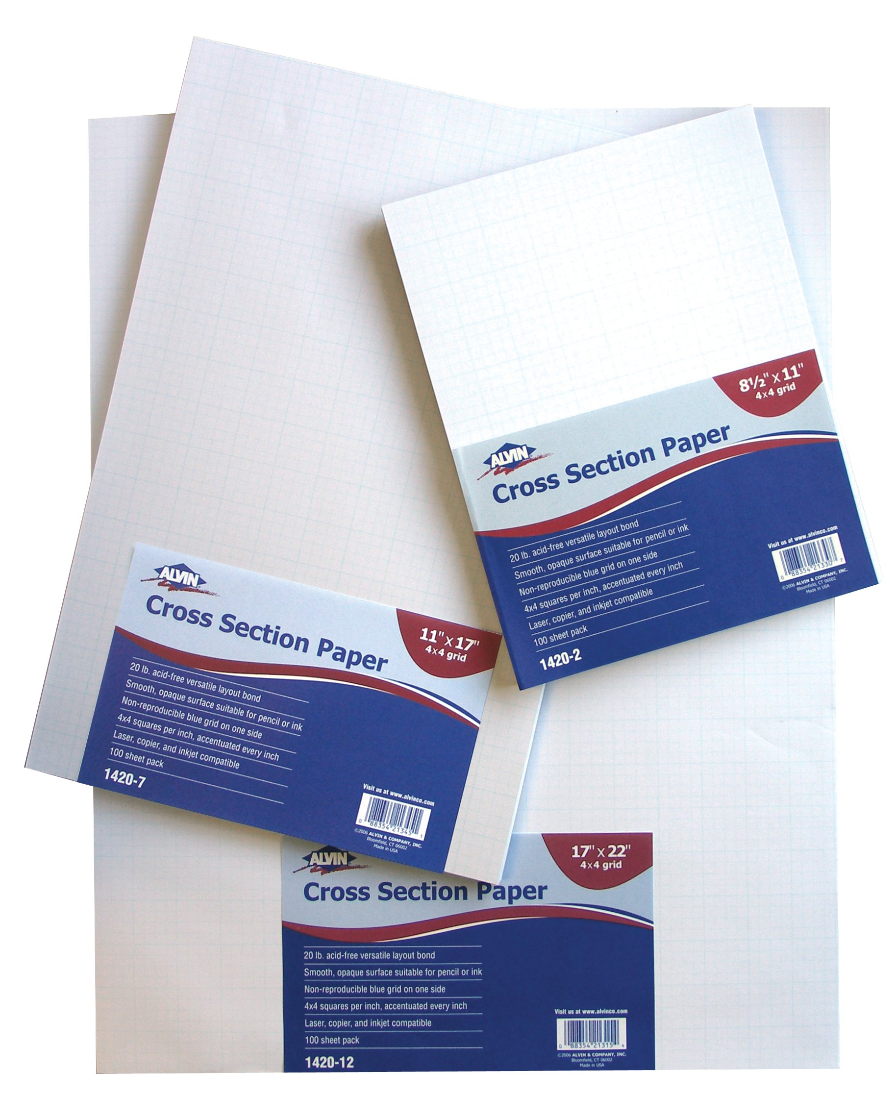 Alvin Cross Section Paper 4x4 Grid 100-Sheet Pack 11 inches x 17 inches 1420-7 by Alvin