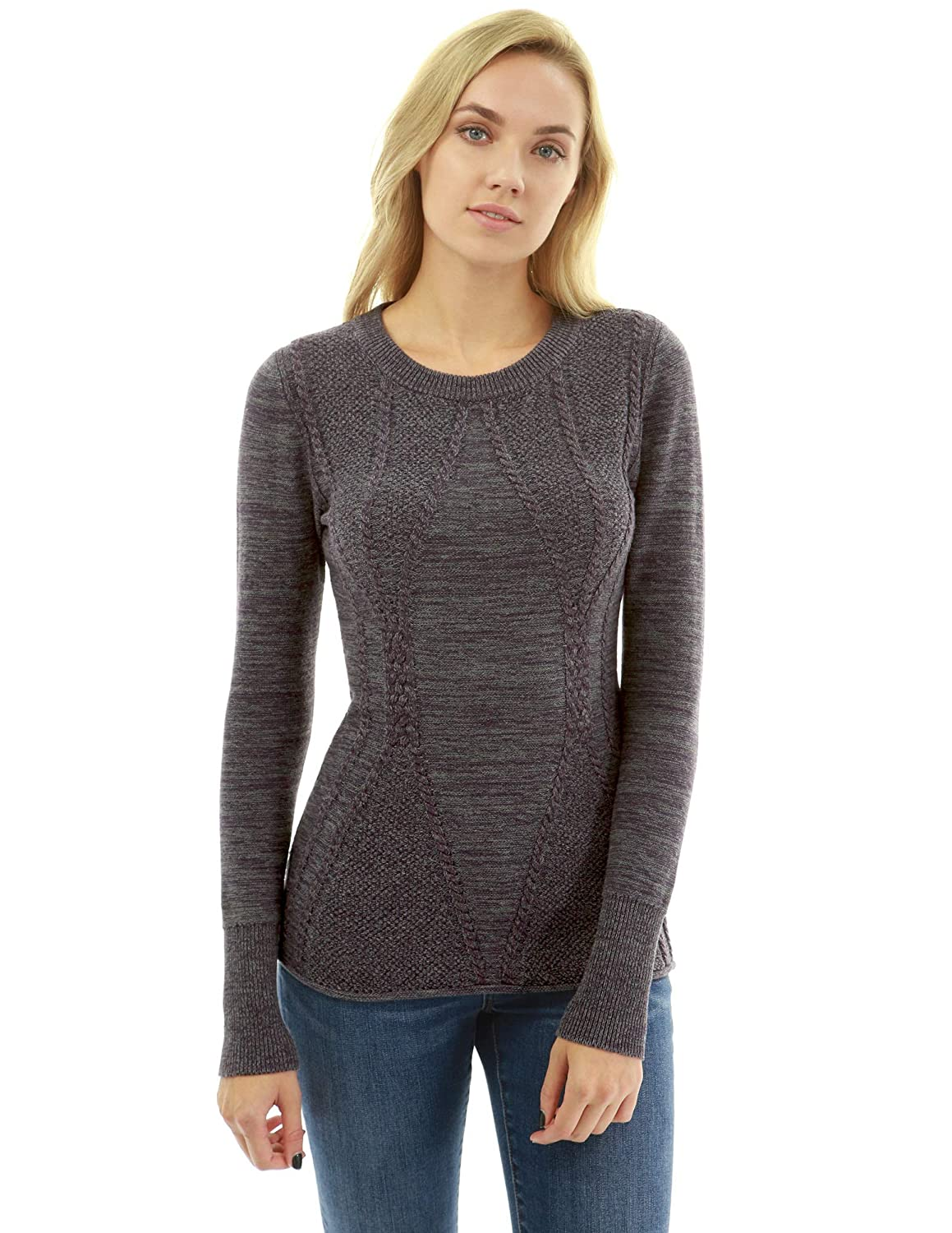 PattyBoutik Women Cotton Blend Crewneck Cable Knit Sweater