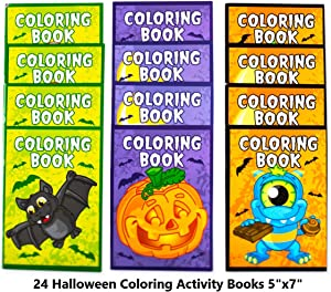 Neliblu Halloween Coloring Books for Kids 24 - Halloween Treats for Treat or Treaters, Halloween Party Favors Non Candy Halloween Treat Alternative for Kids (Pack of 24)
