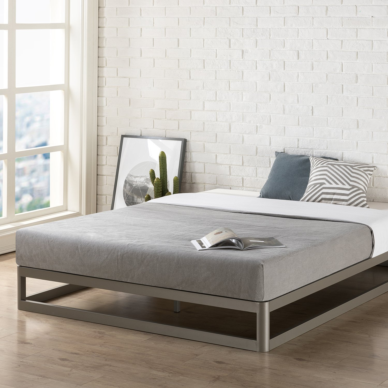 Mellow Queen 9'' Metal Platform Bed Frame w/Heavy Duty Steel Slat Mattress Foundation (No Box Spring Needed), Grey