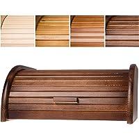 KADAX geräumiger Brotkasten aus hochqualitativem Holz, Brotbehälter mit Rolldeckel für längere frische, Brotbox mit Frontklappe, öko, Rollbrotkasten, Brotaufbewahrung