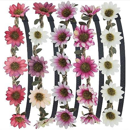 Stirnband Blumen, ZWOOS 5 Stück Stirnbänder Krone Haarband Kopfband Blume Haarbänder mit Elastischem Band für Hochzeit und Pa