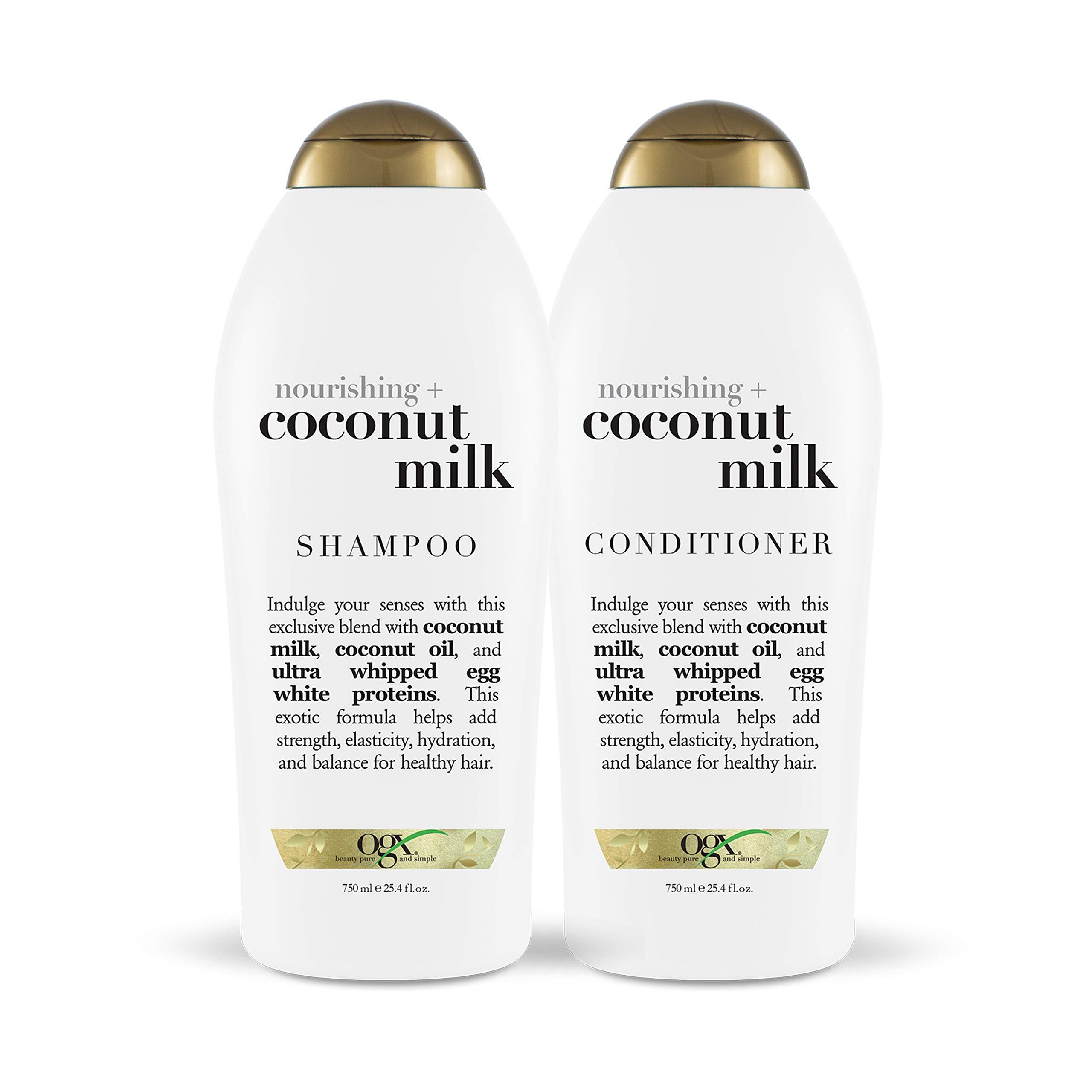 OGX Nourishing + Coconut Milk Shampoo & Conditioner Set, 25.4 Ounce (Set of 2) by OGX