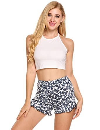 6d1e5f54760c Ekouaer Womens Short Pajama Set Halter Cami Top Floral Printed Shorts  Sleepwear (5290-White