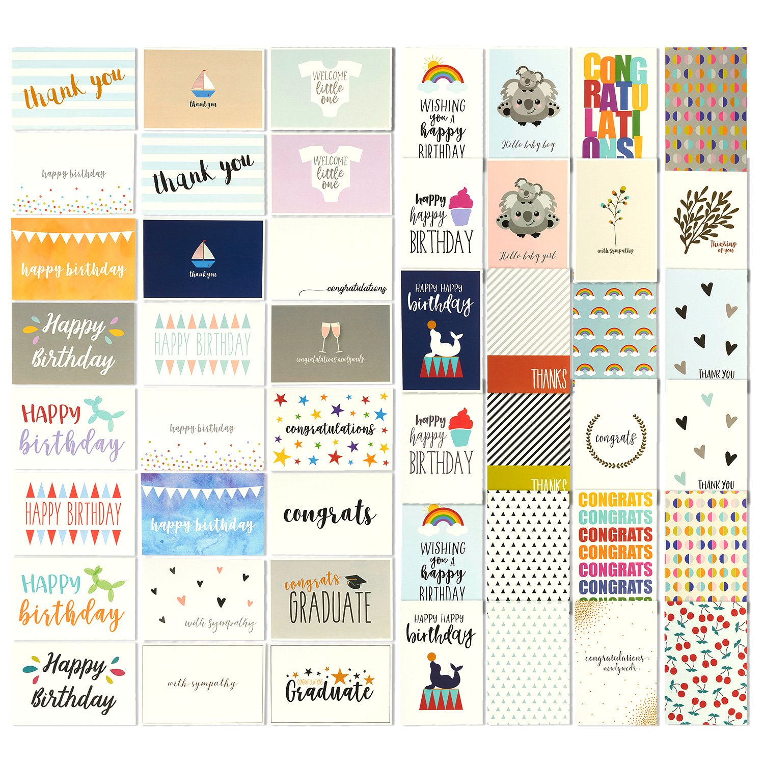 48 all occasion greeting cards assorted happy