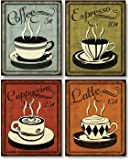 Classic and Colorful Retro Coffee Prints; Set of Four 8x10 Prints. Perfect Artwork for the Kitchen!