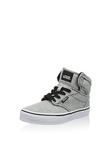 b84f02639cd Vans Youth Atwood Hi Skateboarding Shoe (Washed Jersey) Gray White (Kids US
