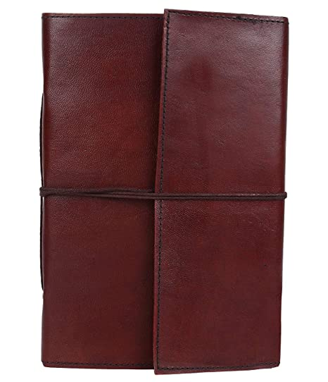 a1c718173384 LEATHER JOURNAL Writing Notebook - Antique Handmade Leather Bound Daily  Notepad For Men   Women Unlined Paper 7 x 5 Inches