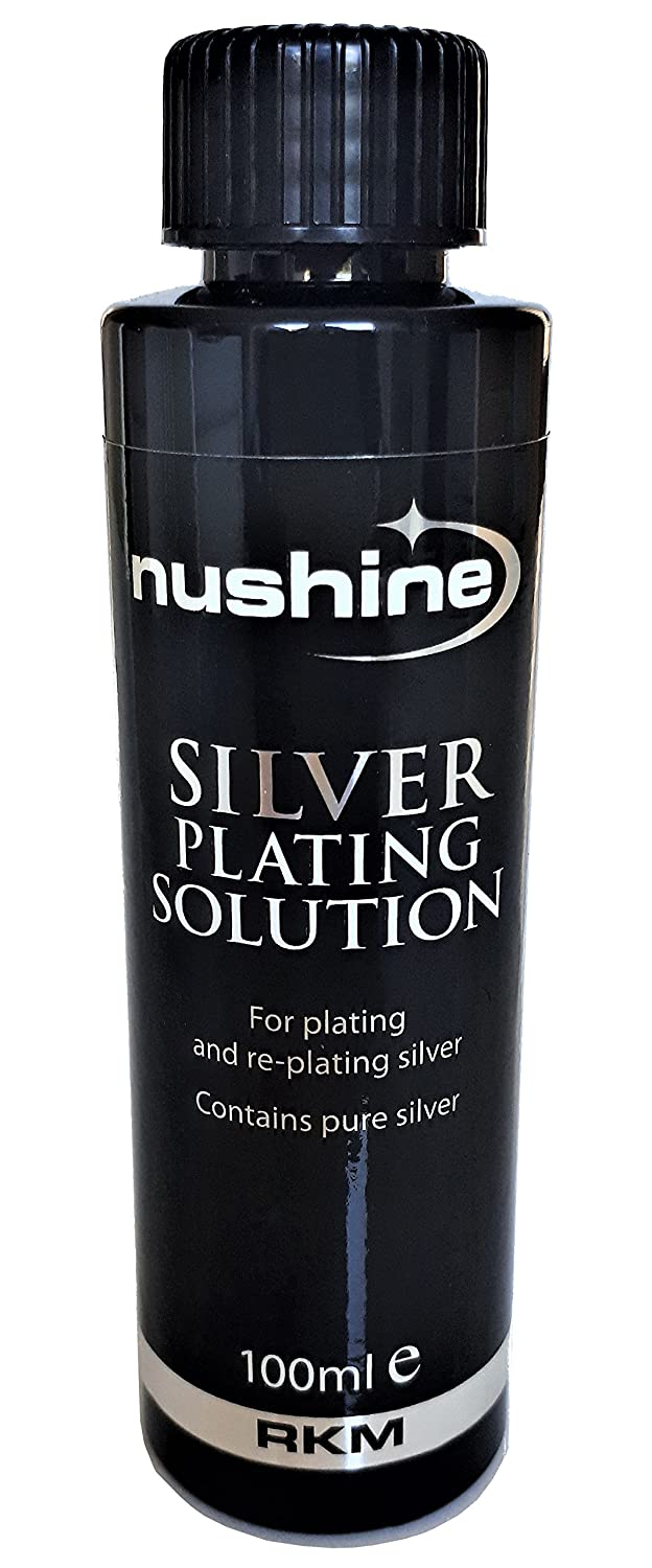 Nushine Silver Plating Solution 100ml - permanently plate PURE SILVER onto worn silver, brass, copper and bronze (eco friendly formula) 104
