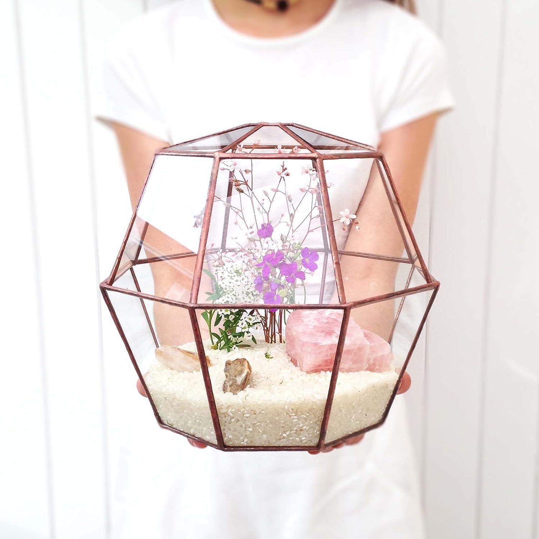 Octagon Geometrische Glas Terrarium 23/Übertopf Modern/für den Gartenbau/Handgefertigt von loveglass Rustic Copper Patina Finish