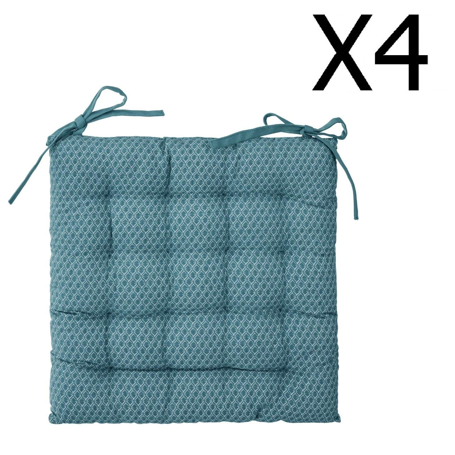 PEGANE Lot de 4 Galettes de Chaise Bleu Canard /à Motifs 38 x 38 cm