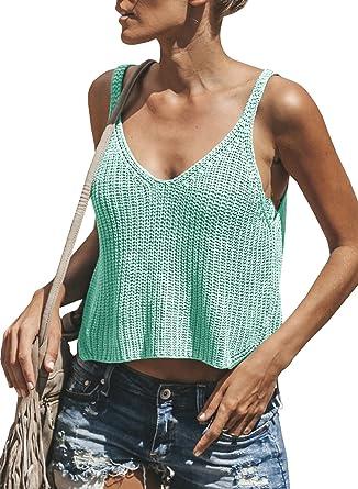Women Sleeveless Spring Crop Knitted Tops V-Neck T-shirt Vest For Female Casual
