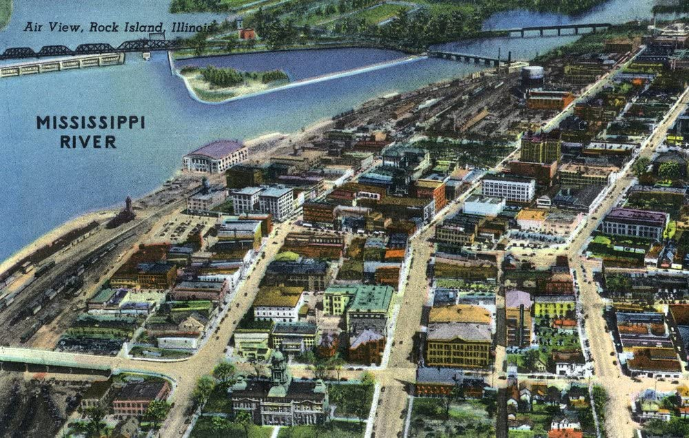 Lantern Press Rock Island, Illinois – Antena View de la ...