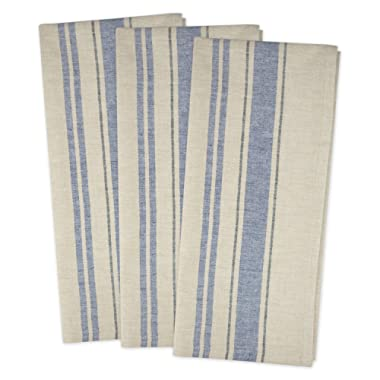 DII Cotton Oversized French Stripe Dish Towels, 20 x 30  Set of 3, Monogrammable Country Farmhouse Flour Sack Tea Towels-Nautical Blue