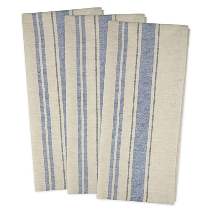 "DII Cotton Oversized French Stripe Dish Towels, 20 x 30"" Set of 3, Monogrammable Country Farmhouse Flour Sack Tea Towels-Nautical Blue"