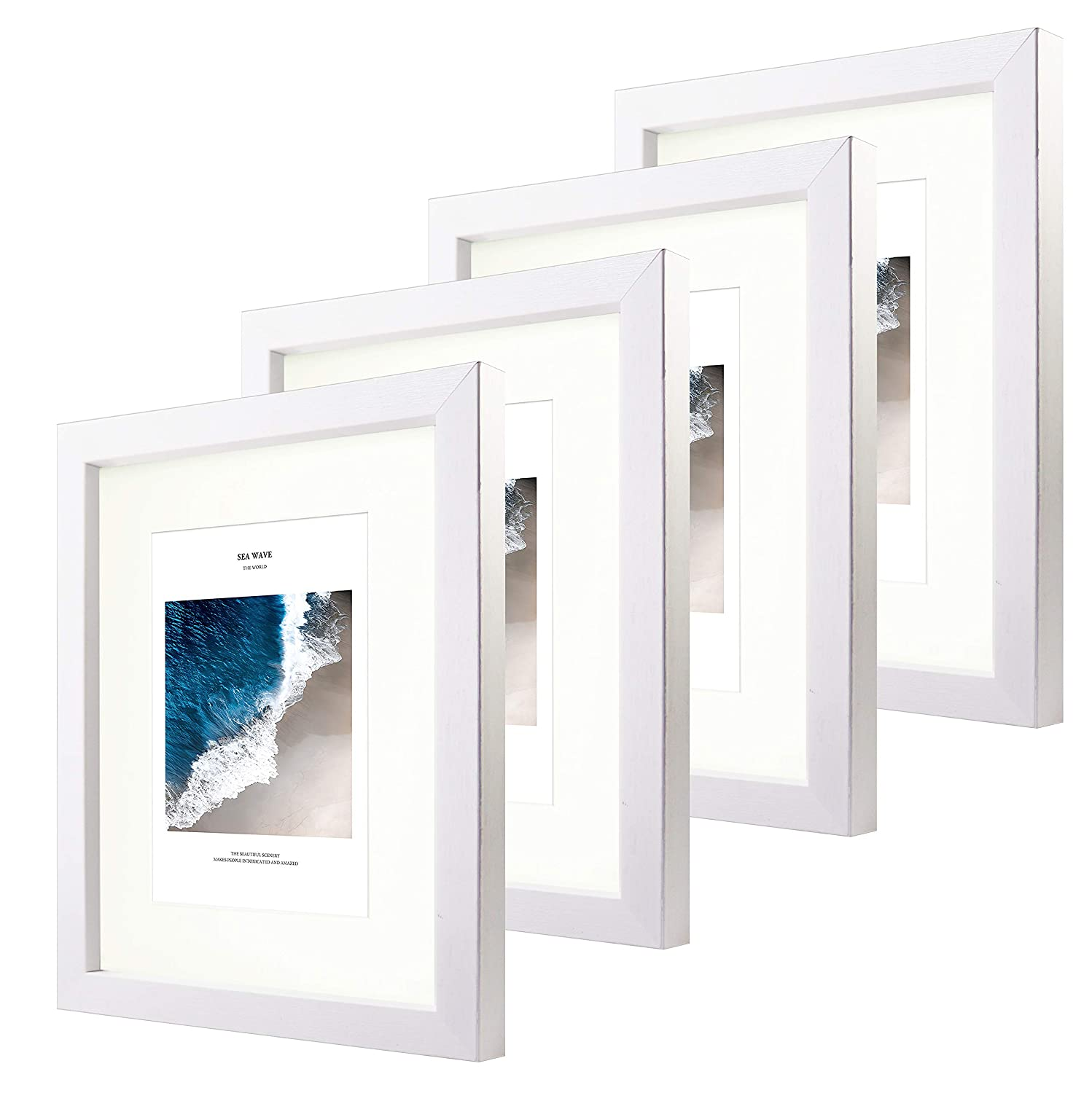 CoFun Art 8x10 Black and White Matted Picture Frames Glass Front for Pictures 5x7 with Mat or 8x10 Without Mat for Wall & Table top 4 Pack (Black)