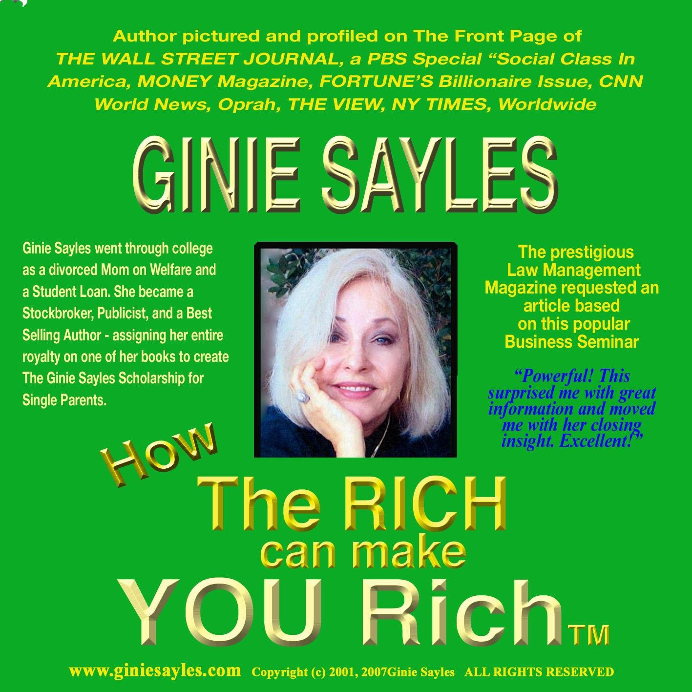 Amazon.com: HOW THE RICH CAN MAKE YOU RICH by GINIE SAYLES