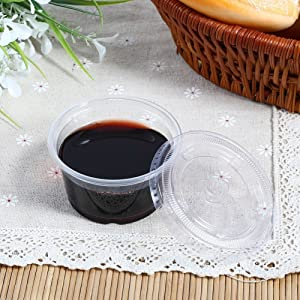 50Pcs Disposable Plastic Cups Clear Sauce Chutney Cups Boxes With Lid Food Takeaway Hot Souffle Cups (4oz)