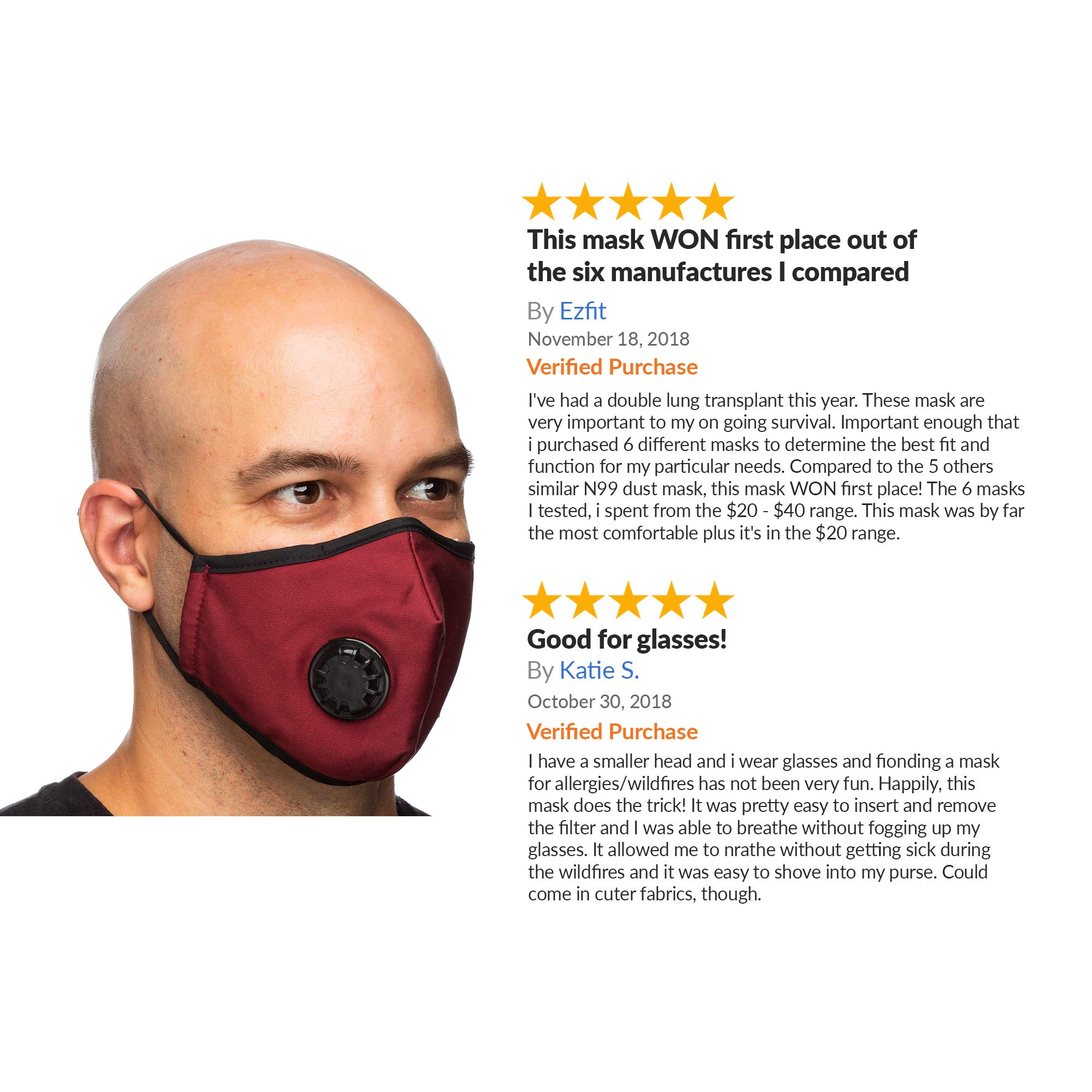 Debrief Me Military Grade N99 (4 Masks) Carbon Activated Anti Dust Face Mouth Cover Mask Respirator-Dustproof Anti-bacterial Washable -Reusable Respirator Comfy-Cotton(N99-4Color) by Debrief Me (Image #10)
