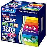 三菱化学メディア Verbatim BD-R(Video) <片面2層> 1回録画用 260分 1-6倍速 20枚 5mmスリムケース インクジェットプリンタ対応(ホワイト) ワイド印刷エリア対応 VBR260RP20V2