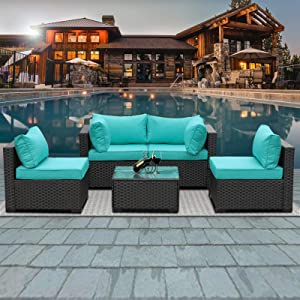 Outdoor Patio PE Wicker 5 Piece Furniture Set, Black Rattan Sectional Conversation Sofa Chair with Coffee Table, Turquoise Cushion