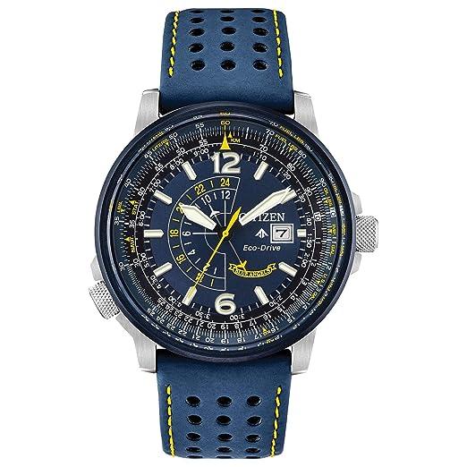 Citizen Reloj de Hombre Eco-Drive 42mm Correa de Cuero Color Azul BJ7007-02L: Amazon.es: Relojes