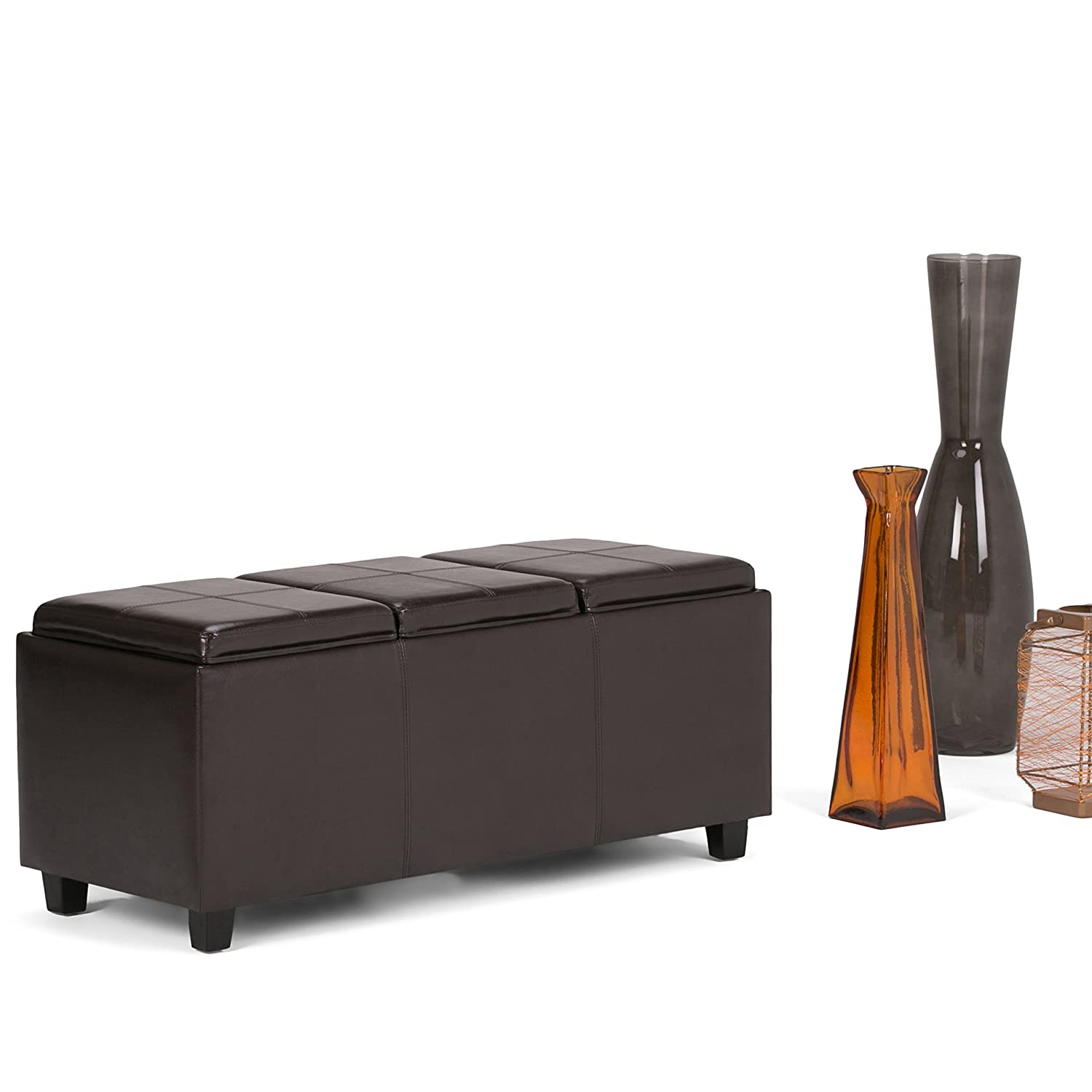Amazon.com: Simpli Home Avalon Faux Leather Rectangular Storage Ottoman  with 3 Serving Trays, Large, Tanners Brown: Kitchen & Dining - Amazon.com: Simpli Home Avalon Faux Leather Rectangular Storage
