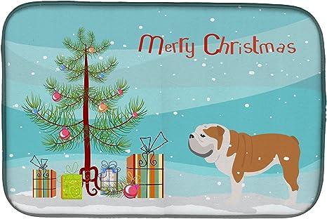 Amazon Com Caroline S Treasures Bb2980ddm English Bulldog Merry Christmas Tree Dish Drying Mat 14 X 21 Multicolor Caroline S Treasures Kitchen Dining