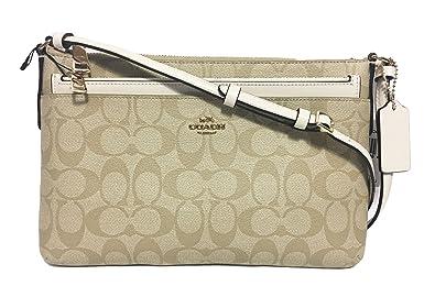 2b785b0ee8fa9e COACH EAST WEST CROSSBODY WITH POP UP POUCH IN SIGNATURE (Chalk Khaki)   Handbags  Amazon.com