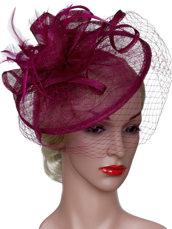 Vijiv Women Vintage Derby Fascinator Hat With Veil Pillbox Headband Feather Cocktail Tea Party