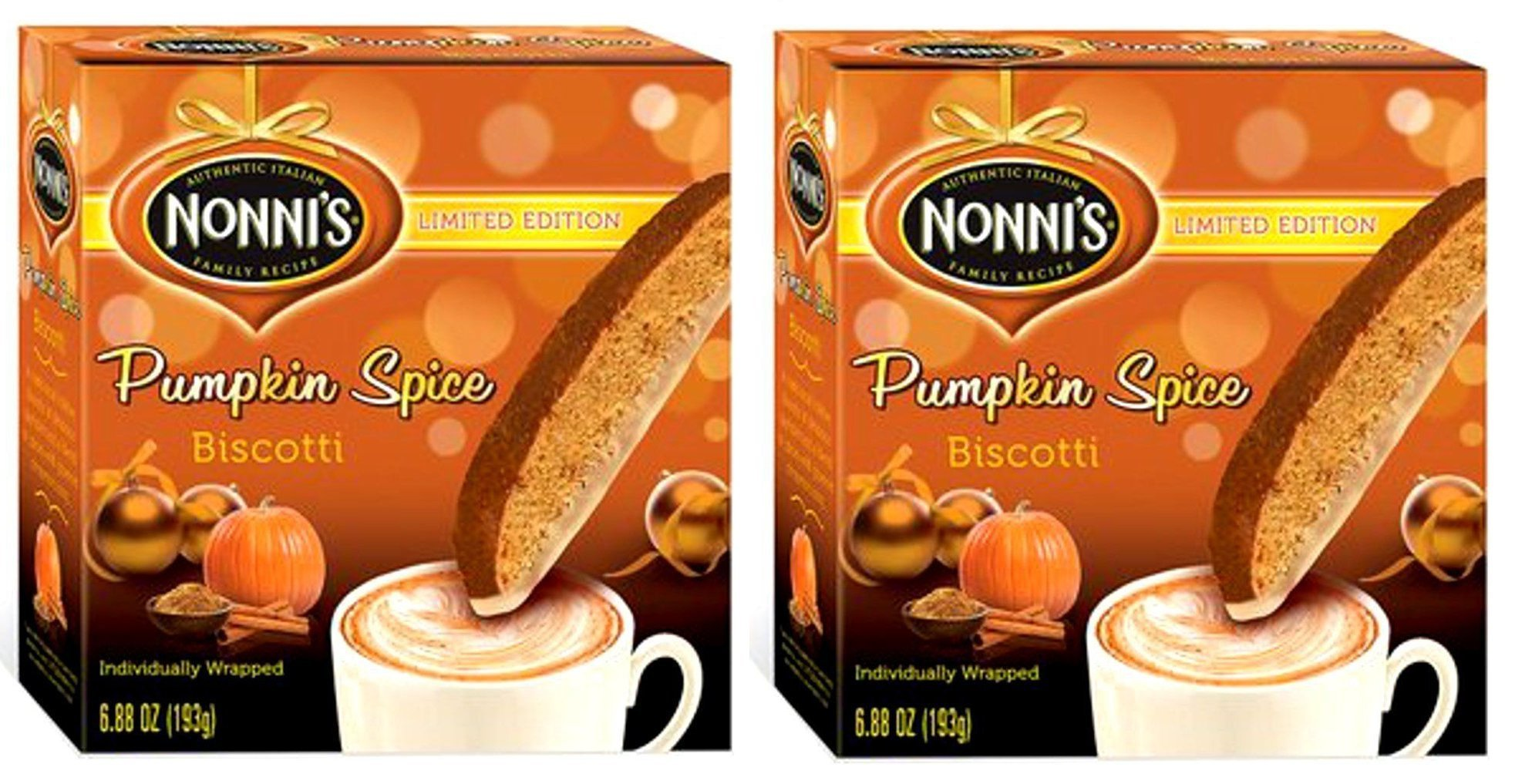 Nonnis PUMPKIN SPICE Biscotti Limited Edition Individually Wrapped 6.88 Oz. (Pack of 2) by Nonnis