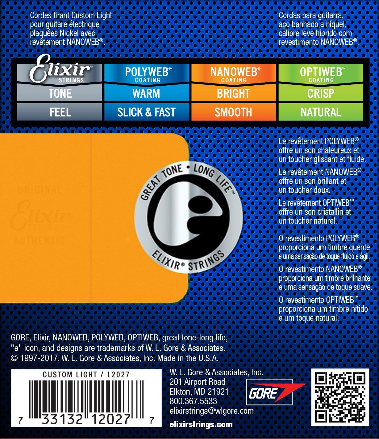 Elixir 12027 - Juego de cuerdas para guitarra eléctrica.009-0.046: Amazon.es: Instrumentos musicales