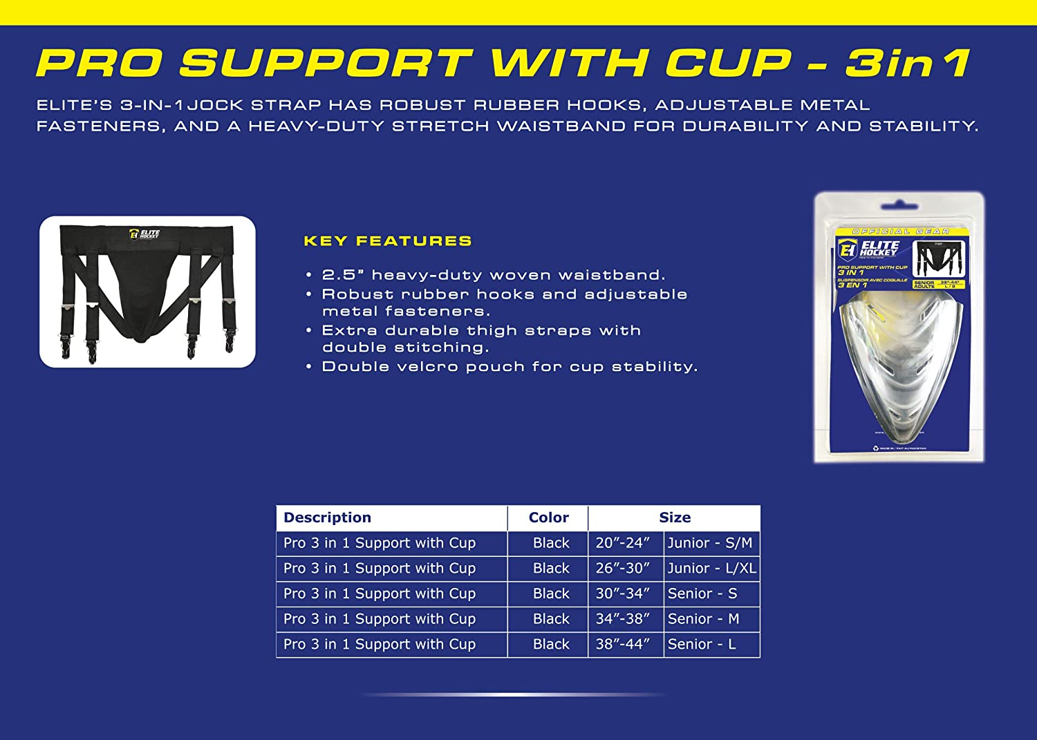 Elite Hockey Pro Support with Cup 3-in-1