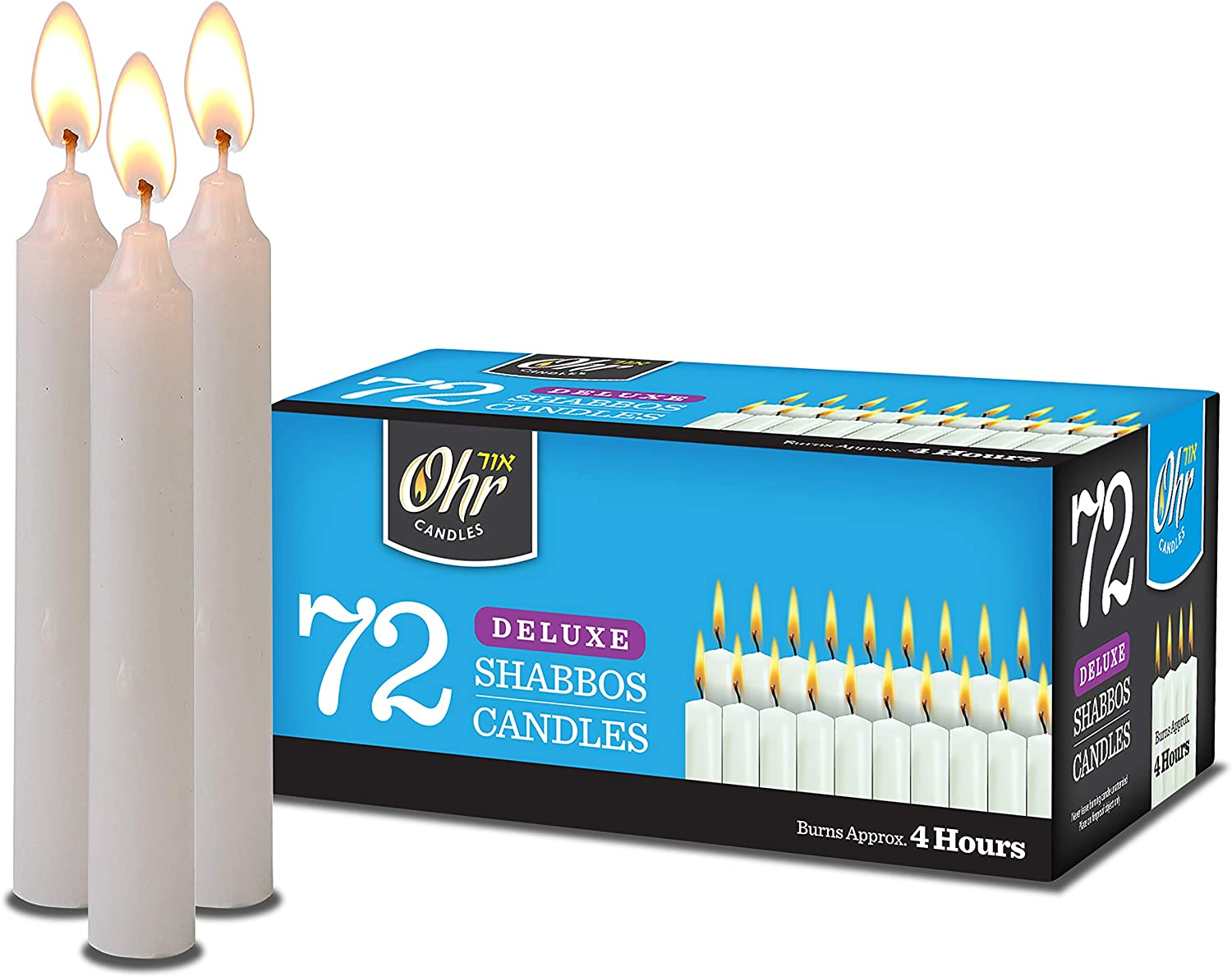Ner Mitzvah Shabbat Candles - Traditional Shabbos Candles - 4 Hour - 72 Count - by Ohr