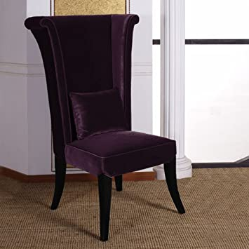 velvet dining room chairs ireland cheap living mad hatter chair purple black wood finish canada
