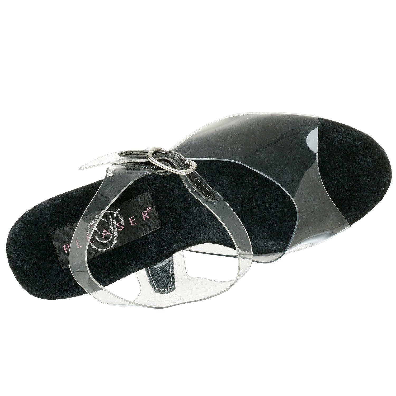 Pleaser Adore-708LN Scarpa con tacco e plateau glitterati, glitterati, plateau colore: Trasparente/Nero Clr/Blk 7002d1