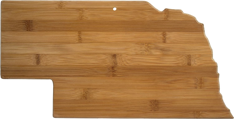 Totally Bamboo 20-7973NE Nebraska State Shaped Bamboo Serving & Cutting Board