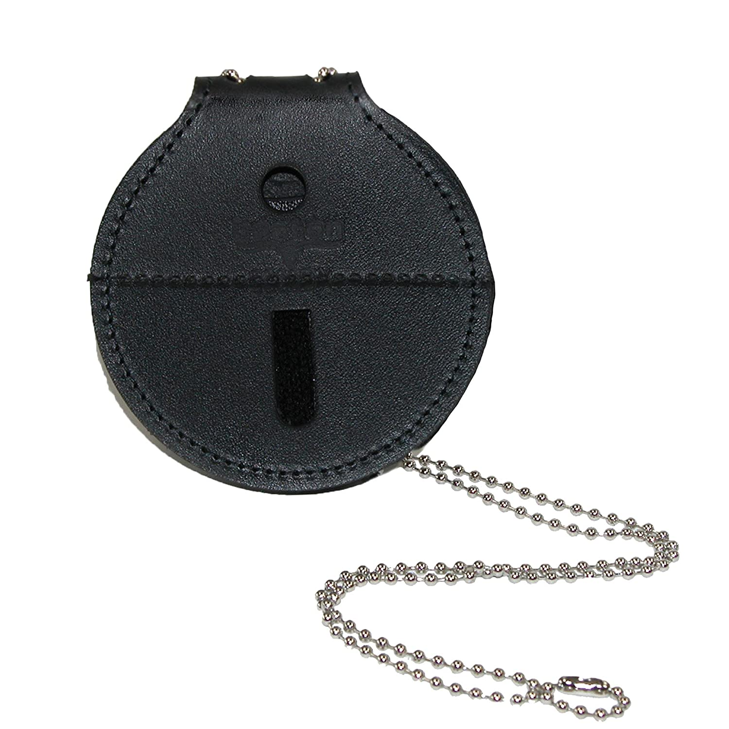 Boston Leather Unisex Clip Back Circle Pin-On Badge Holder with Neck Chain, Black BO-5889DX1-BLK