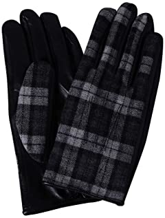 Check Wool Sheep Leather Gloves 1337-699-1033: Dark Grey