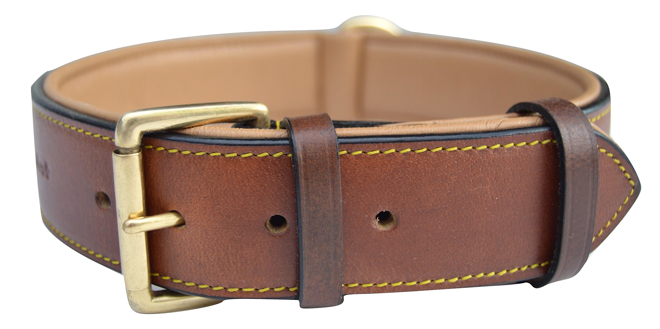 Soft Touch Collars Real Leather Padded Dog Collar, XL Brown, 28'' Inches Long x 1.75'' Inches Wide, Neck Size 22'' to 25'', Full Grain Genuine Luxury Leather for XLarge Dogs by Soft Touch Collars