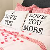 Super Z Outlet I Love You & Love You More Cotton Polyester Standard Size Pillowcase Pair for Bedroom, Home Decoration…