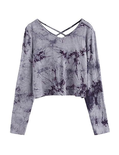 a40c2a02c89 SweatyRocks Women's Tie Dye Print Crop Top T Shirt Long Sleeve Grey ...