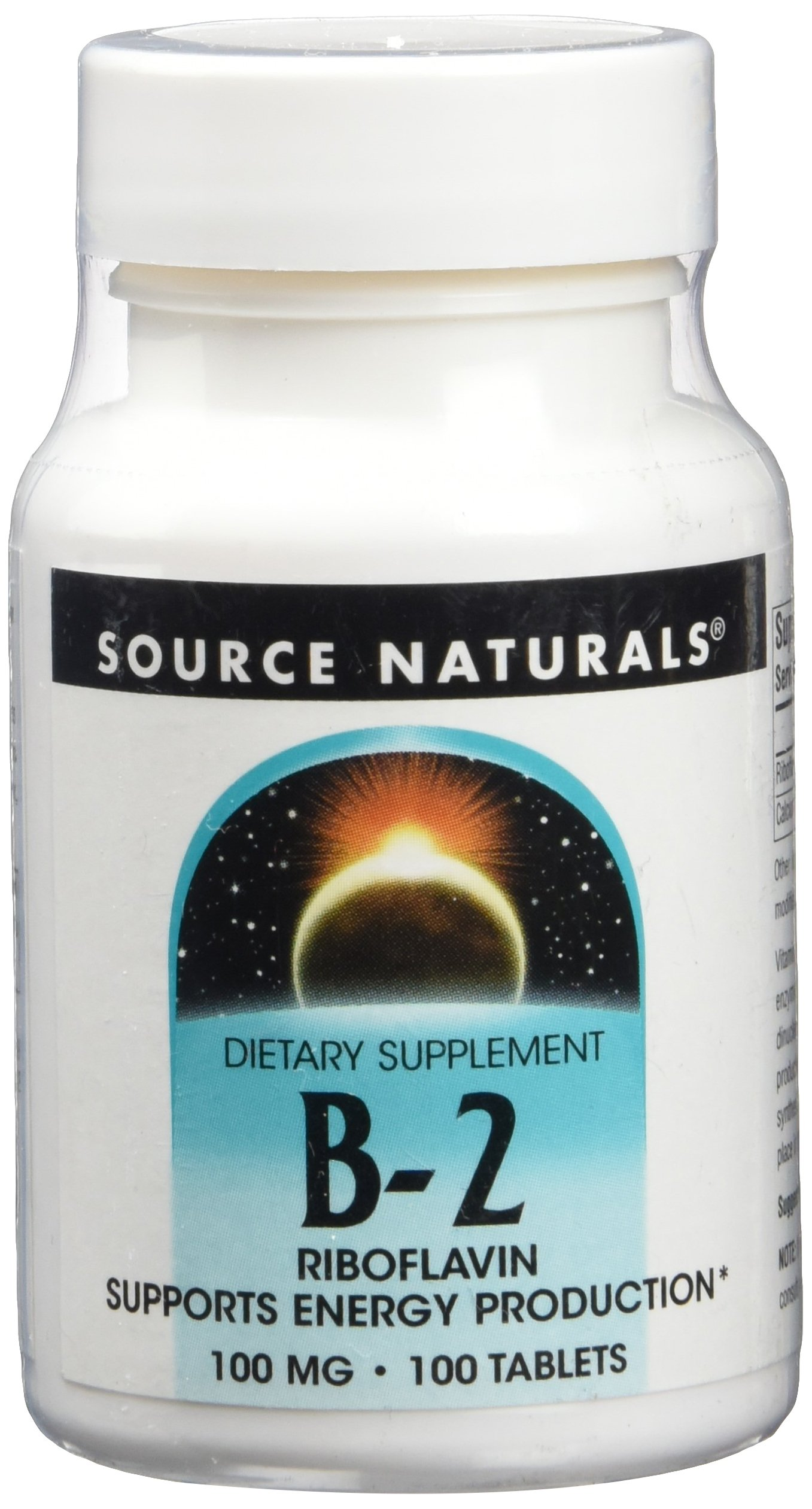 Source Naturals Vitamin B-2 Riboflavin 100mg, Supports Energy Production, 100 Tablets (Pack of 2)