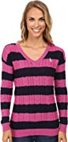 U.S. POLO ASSN. Womens 7 Gage Stripe V-Neck Cable Knit Sweater