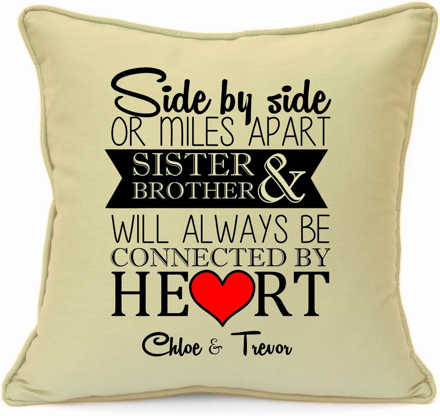 Personalised Presents Gifts For Sister Best Friends Colleagues Cousins Overseas Moving Abroad Birthday Christmas Xmas New Home House Warming Heart Touching Cushion Cover 18 Inch 45 Cm Amazon Co Uk Kitchen Home